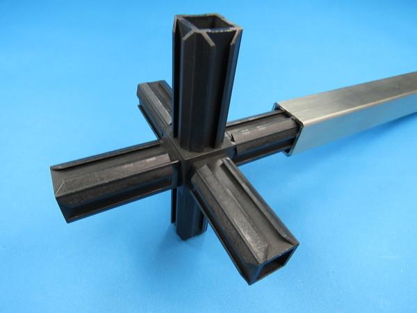 kunststoff 25x25 vierkant rohr kreuz verbinder 2 abgang ebay. Black Bedroom Furniture Sets. Home Design Ideas