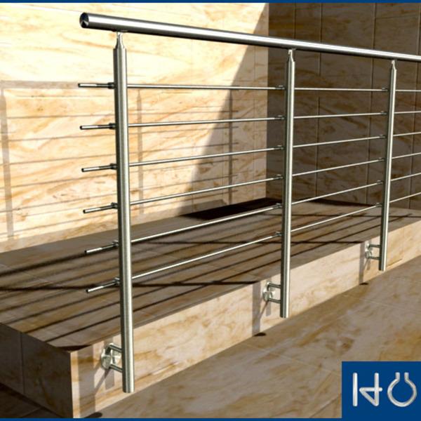 gel nder stirnseitig vorgesetzt edelstahl balkon treppe handlauf bausatz wange ebay. Black Bedroom Furniture Sets. Home Design Ideas