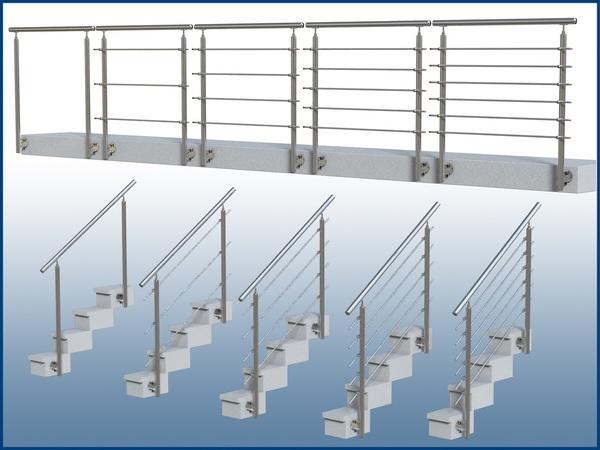Treppengeländer Holz Bausatz ~   Stirnseitig vorgesetzt Edelstahl Balkon Treppe Handlauf Bausatz Wange