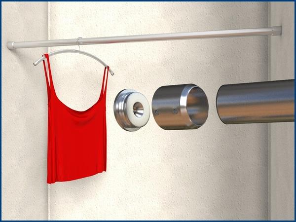 edelstahl rohrhalter garderobenstange stange kleiderstange. Black Bedroom Furniture Sets. Home Design Ideas