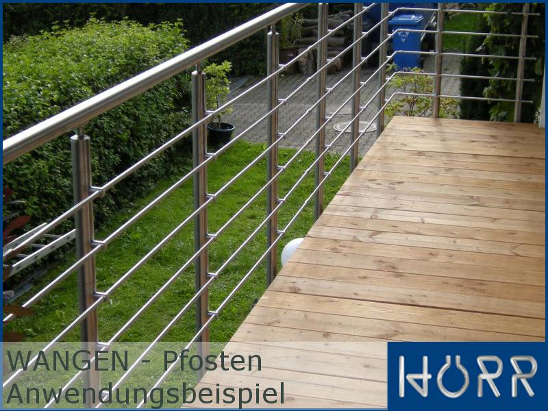 2 Pfosten Edelstahlgel/änder Aufmontage f/ür Balkon Terrasse Treppe mit waagerechten Streben-Variante mit 7 Streben-L/änge:1,2 m ink