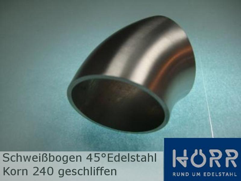 Bogen Schweißbogen 45° K240 geschliffen Geländer Rohr Edelstahl
