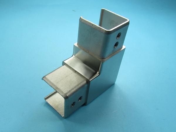 Glasleistenrohr Winkel horizontal  für Profil Rohr 42,4 48,3 90° Edelstahl