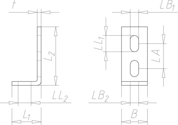 Anschlusswinkel Loch Winkel 75 x 25 x 4 mm 90° abgewinkelt V4A Edelstahl