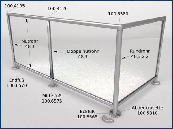 Edelstahl Glasleistenrohr Oval Rohr Verbinder 80x40