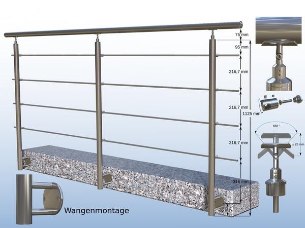 2x Pfosten Set geschliffen Ø 42,4 x 2 mm 1,00m V2A Edelstahl Treppengeländer