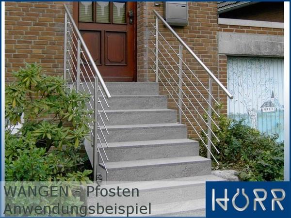 Geländer Edelstahl WANGEN Pfosten Querstabhalter Innenseite Treppe Balkon V2A