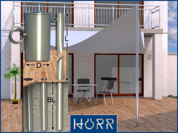 edelstahl va 60 sonnensegel stange mast halter 2 5 m ebay. Black Bedroom Furniture Sets. Home Design Ideas