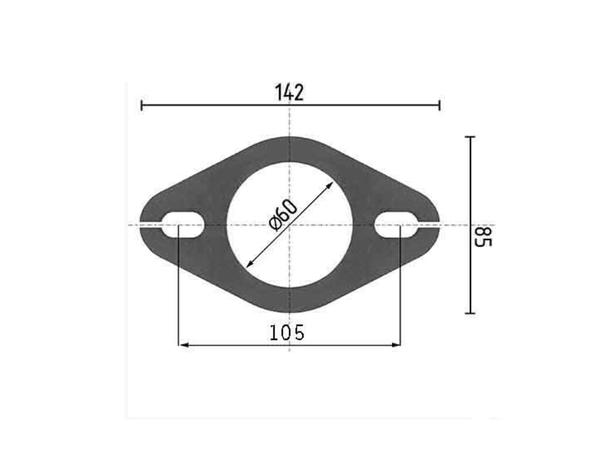 Rohr 63,5 Auspuff Flansch Flanschplatte Edelstahl Nr.50-2 Loch 13x20 mm