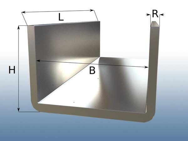 u profil 25 cm edelstahl geschliffen k240 v2a u profil. Black Bedroom Furniture Sets. Home Design Ideas